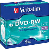 TDK Verbatim DVD-RW 4, 7GB 4x Speed, Jewel Case 1x5set 43285 43285