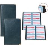 Ντοσιε Business Card Holder Δερματινη 128 Cards Με Χρυση Μεταλικη Γωνια