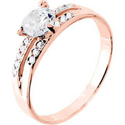 Μονόπετρο δαχτυλίδι από ροζ χρυσό Κ14 με ζιργκόν