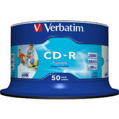 50τεμ. Verbatim AZO CD-R 700MB 52x Full Face Printable Cakebox 50 - 43438