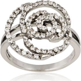 Δαχτυλίδι Λουλούδι Λευκό Χρυσό 14 Καρατίων Κ14 με Πέτρες Ζιργκόν 022576 41025ec41b6