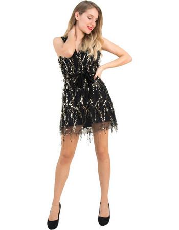 Γυναικείο μαύρο κρουαζέ φόρεμα τούλι παγιέτες Coocu 91891 8d4bf289564