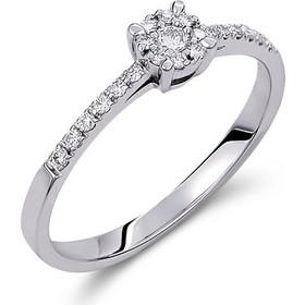 Δαχτυλίδι illusion από λευκό χρυσο 18 καρατίων με ένα κεντρικό και 8  περιμετρικά διαμάντια που δημιουργούν a8a34f65f46