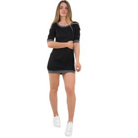 7b7f3916f860 Γυναικείο μαύρο φόρεμα με ζακάρ σχέδιο κοντό μανίκι 91098G