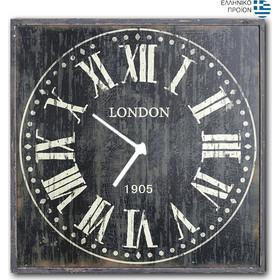 London BL - Ρολόι τοίχου Ξύλινο Χειροποίητο Τετράγωνο 48cm T4816 4a1a9ee453f