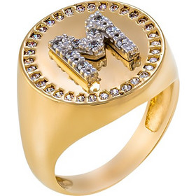 Δαχτυλίδι σεβαλιέ από χρυσό 14 καρατίων με μονόγραμμα με ζιρκόν. PS07618 5bf9b033f71