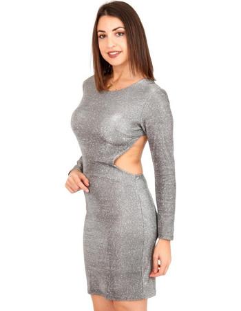 Ασημί Mini Φόρεμα με Glitter Aσημί Silia D 764e8be791b