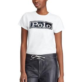 557688fd2ecc Polo Ralph Lauren γυναικείο T-shirt με παγιέτα Logo Cotton - 211732286001 -  Λευκό