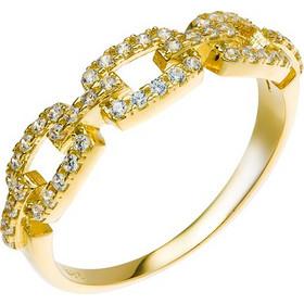 Δαχτυλίδι από χρυσό 14 καρατίων με σχέδιο που θυμίζει αλυσίδα διακοσμημένη  με ζιρκόν. MY23518G a8af08e3eca