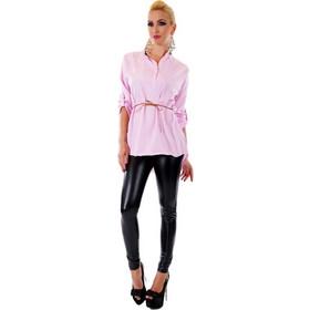 77ac8364289d 31026 SD Μοντέρνο ριγέ πουκάμισο - Ροζ