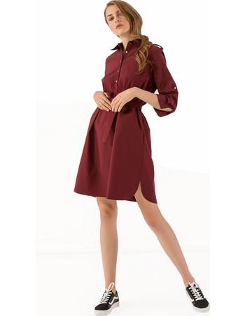 Midi ριχτό φόρεμα με ζώνη και κουμπιά - Μπορντώ 77c59305845