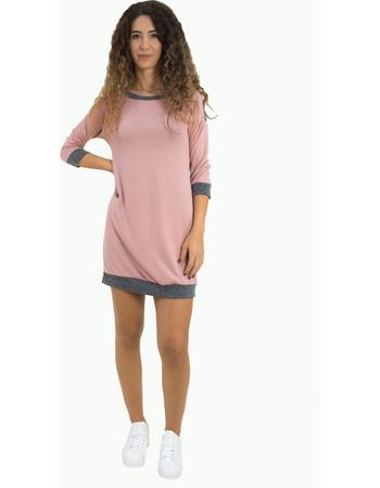 Γυναικείο ροζ φόρεμα με ζακάρ σχέδιο κοντό μανίκι 91098Q a34a082c4ad