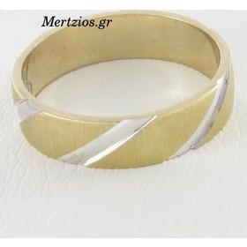 Δαχτυλίδι Δίχρωμο Μάτ Με Λευκές Γραμμές 14 Καράτια d28398c7a00