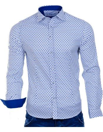 Ανδρικό Πουά Μακρυμάνικο Πουκάμισο Slim Fit Best Choice S16167 SKY White  Μπλε 5cfaf2df1f4