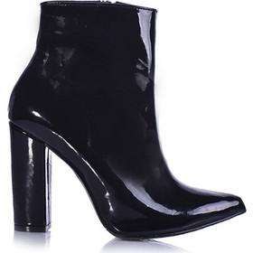 b42206b5557 Μποτάκια μαύρο λουστρίνι μυτερά με χοντρό τακούνι 3816177bl. Tsoukalas Shoes