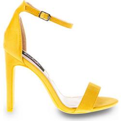 582a3f657f6 Πέδιλα κίτρινα σουέτ με πλατύ τακούνι 342154yell