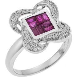 Δαχτυλίδι με Διαμάντια και Ρουμπίνια Λευκόχρυσο 18Κ 5160a10c3da