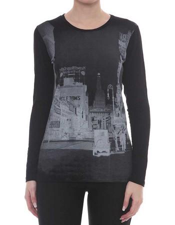 Jadea μαύρη βισκόζ μακρυμάνικη μπλούζα με στάμπα πόλη 4290Α 19d0be519d7