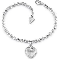 Βραχιόλι Guess ασημί από ορείχαλκο με καρδιά UBB28024 6bf95789138