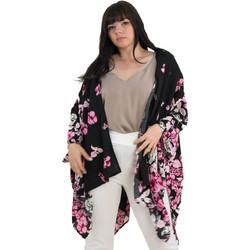 c90d0ab10b85 Γυναικείο μαύρο κιμονό ροζ φλοράλ Plus Size Honey 64023