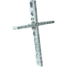 Σταυρός χειροποίητος ασημένιος καρδούλες μοτίφ 925 με ζιργκόν 3x0.4x4.2cm 8df95a60113