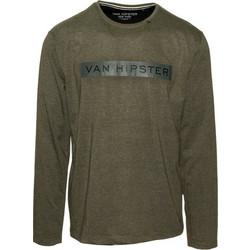 2d14a7d14891 71439-16 Ανδρική μακρυμάνικη μπλούζα με τύπωμα - χακί μελανζέ