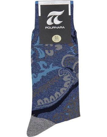 ΠΟΥΡΝΑΡΑ Πουρνάρα Ανδρικές Κάλτσες Σχέδιο Flower Design Μπλε eefbfbb027e