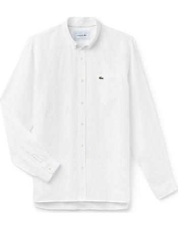 Ανδρικό πουκάμισο λινό Spring Bloom Lacoste - CH4990 - Λευκό 904e5b8cfea
