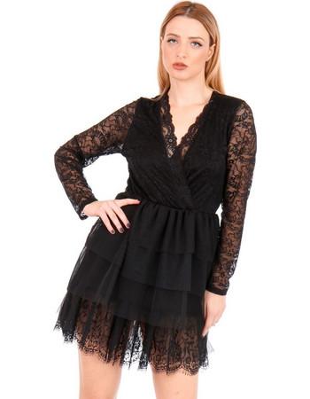 Μαύρο Μini Φόρεμα Κρουαζέ με Δαντέλα και Τούλι Μαύρο Silia D 93d456692fa