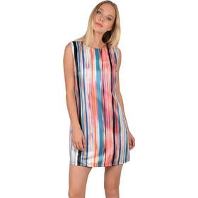 fa735671fab6 Molly Bracken γυναικείο σατέν mini φόρεμα με multi color ρίγες -  S19MB-P1201 - Κοραλί