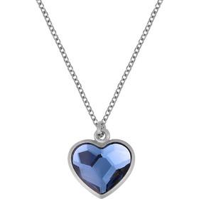 Ασημένιο κολιέ καρδιά 925 με σκούρη μπλέ πέτρα SWAROVSKI AK-E5072BLSL1 f6a013b4aa9