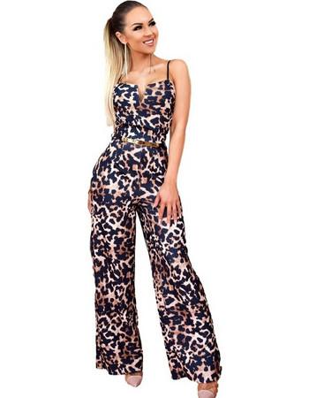 52596 CW Λέοπαρ ολόσωμη φόρμα με ζώνη - Καφέ Λεοπαρ 05e969605cb