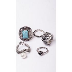 Boho Δαχτυλίδια Σετ 5 Μπλε Πέτρα   Πέρλα 1aa10df802d