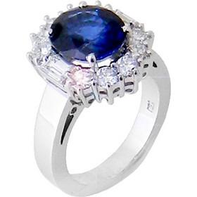 Λευκόχρυσο δαχτυλίδι ροζέτα Κ18 με brilliant και ορυκτό ζαφείρι DBR159A 3436688843a