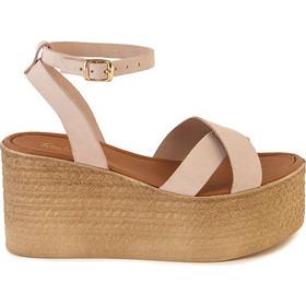0e44fe6a146 Πλατφόρμες flat ροζ δερμάτινες χιαστή 312057nude. Tsoukalas Shoes