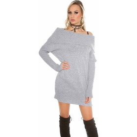 dab43f9e4738 Trendy knit sweater with big turtleneck grey