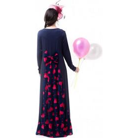 810ebabf92f5 Μπλε Μακρύ Φόρεμα με Ουρά   Φιόγκο Καρδιές