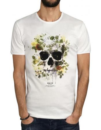 Ανδρικό Κοντομάνικη Μπλούζα T-Shirt 3GUYS SKULL FLOWERS 61-3839 Λευκό 79017ef0fee