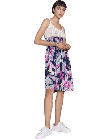 a93c5ef11316 Midi φόρεμα με κεντητή λεπτομέρεια - Μπλε