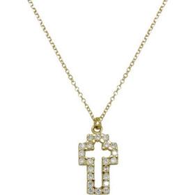 Κολιέ σε κίτρινο χρυσό Κ14 Σταυρός με λευκά ζιργκόν 361d59319a7