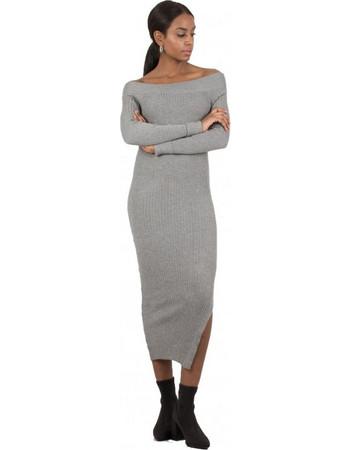eaf6fddd9be0 F295 Φόρεμα Midi Ριπ με Ανοιχτή Λαιμόκοψη και Σκίσιμο στο Πλάι - ΓΚΡΙ 10106