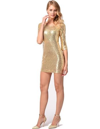 2b3e6a23da63 2018 New Product Sexy Gold Sequin Package Hip Skirt Dresses Evening Dress