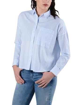 9138103f1b7a Tommy Jeans Oversized Seersu Γυναικείο Πουκάμισο DW0DW04179-901