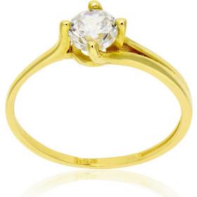 Δαχτυλίδι Μονόπετρο Κίτρινο Χρυσό 14 Καρατίων Κ14 με Πέτρες Ζιργκόν 031107 090ce41c79c