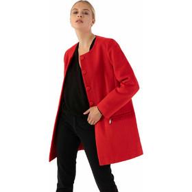 706da9c108d Παλτό χωρίς γιακά με τσέπες μπροστά που κλείνουν με φερμουάρ - Κόκκινο