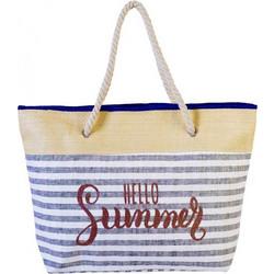 Ψάθινη Γυναικεία Τσάντα Θαλάσσης με ρίγες Hello Summer ad672e442c0