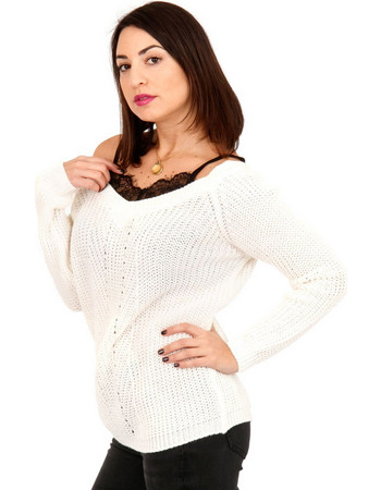 82e95207a4a3 Λευκή Πλεκτή Μπλούζα με Δαντέλα Λευκό Silia D