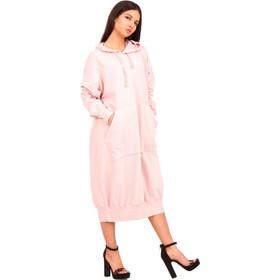 b5a6ae099209 Ρόζ Μακρύ Φούτερ Μπλουζοφόρεμα με Κουκούλα Ρόζ Silia D