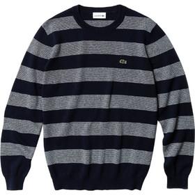 96ab5e74761b Lacoste ανδρική ριγέ πλεκτή μπλούζα με στρογγυλή λαιμόκοψη - AH3423 - Μπλε  Σκούρο