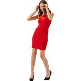 bf674ee260be Πλεκτό φόρεμα με τούλι - Κόκκινο
